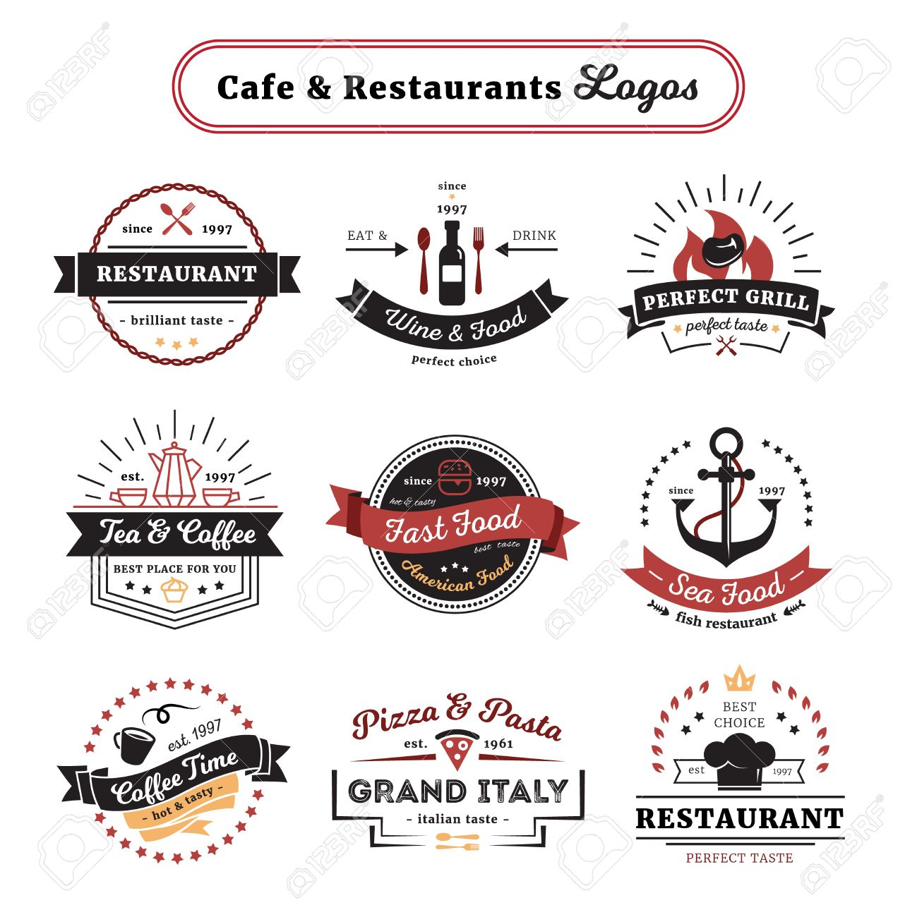 Cafe and restaurant logos vintage design with food and drinks cafe and restaurant logos vintage design with food and drinks cutlery and crockery isolated vector illustration buycottarizona Image collections