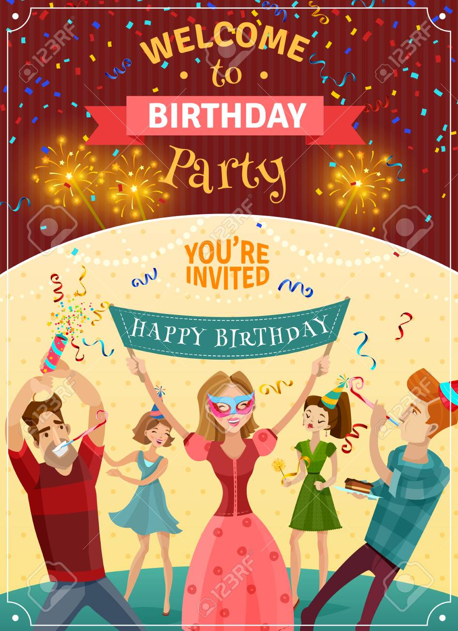 birthday party announcement invitation card or poster with sparklers