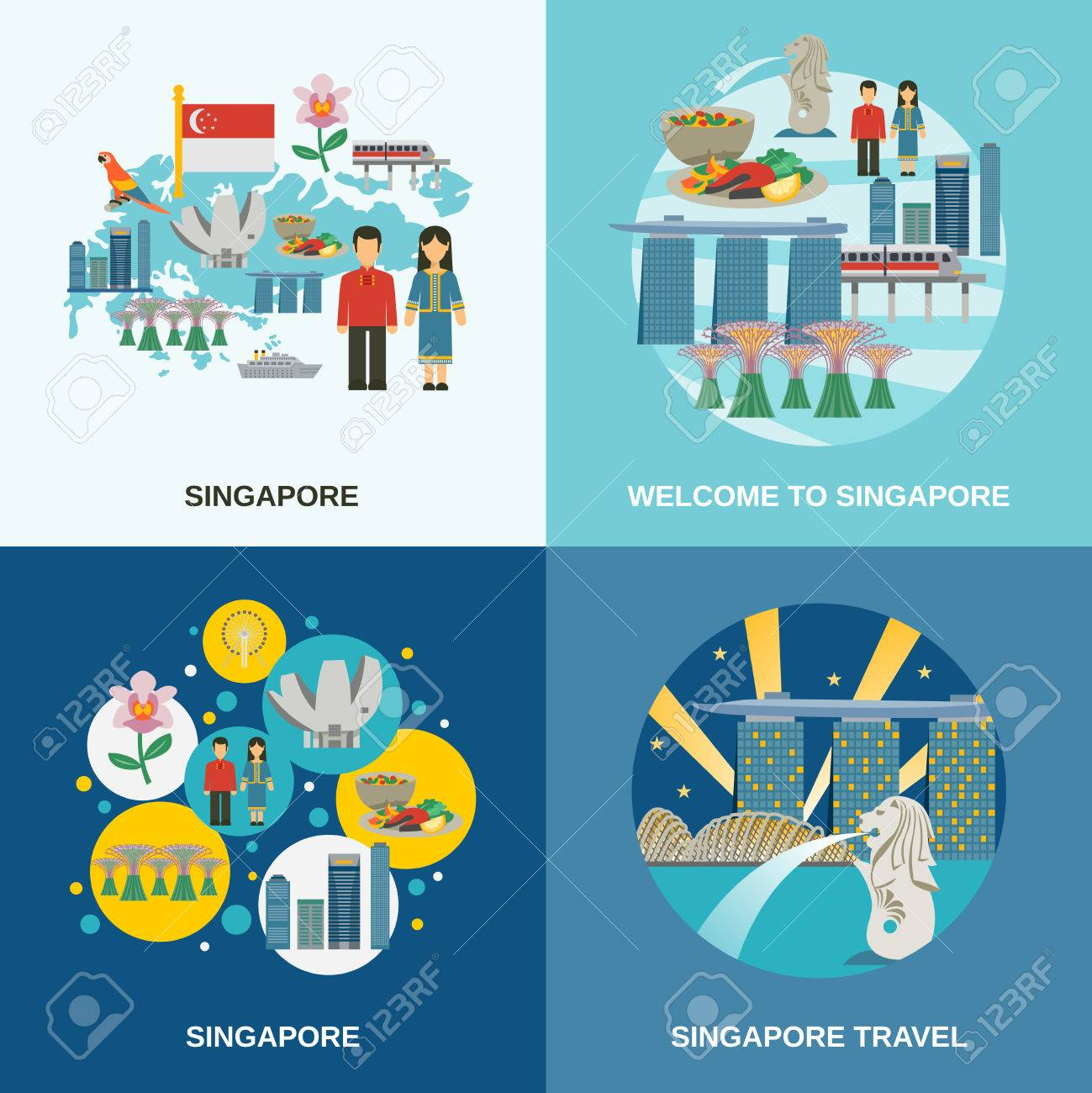 Tourist attractions in Singapore 4 flat icons composition poster with cultural symbols pictograms abstract isolated vector illustration Stock Vector - 72884778