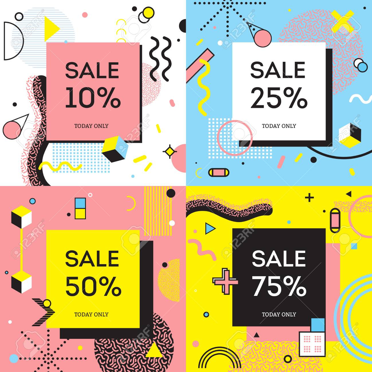 ea782f9acb174 Sale concept in memphis style with percentage of discount on background  with geometric shapes isolated vector