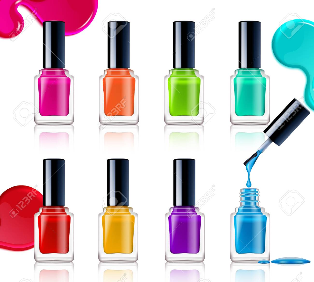 Nail polish assortment of beautiful bright colors on white background..