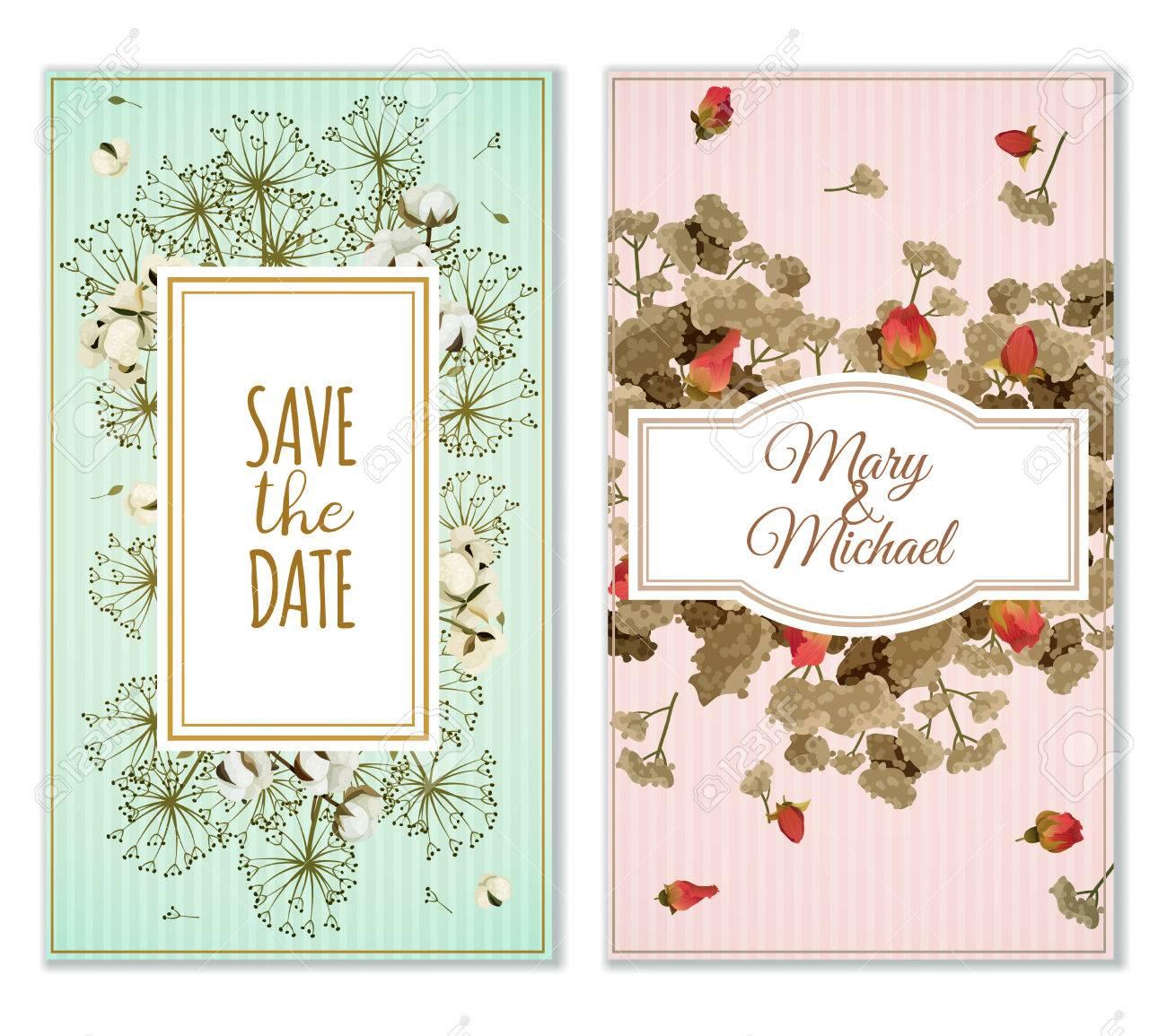 Dos Variantes De Tarjetas De Invitación De Matrimonio Para Imprimir En Colores Pastel Con Flores Secas Decoración Vintage Ilustración Vectorial