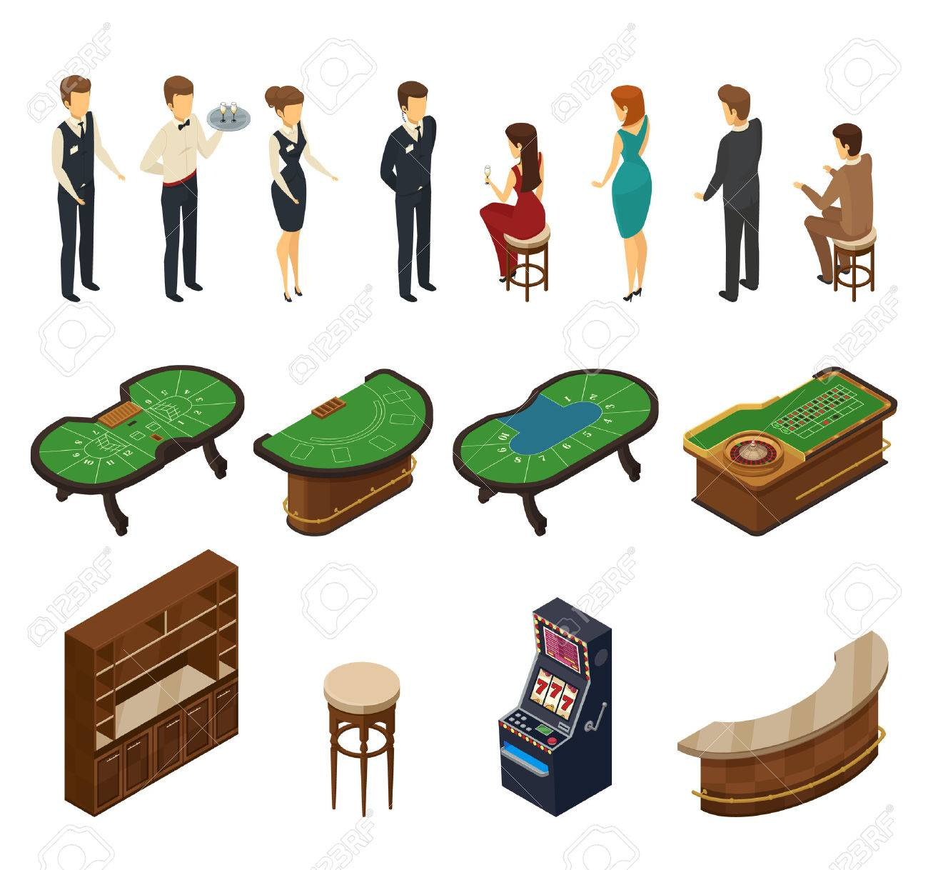 Colored And Isolated Casino Isometric Icon Set With Halls Furniture And  Service Personnel Vector Illustration Stock
