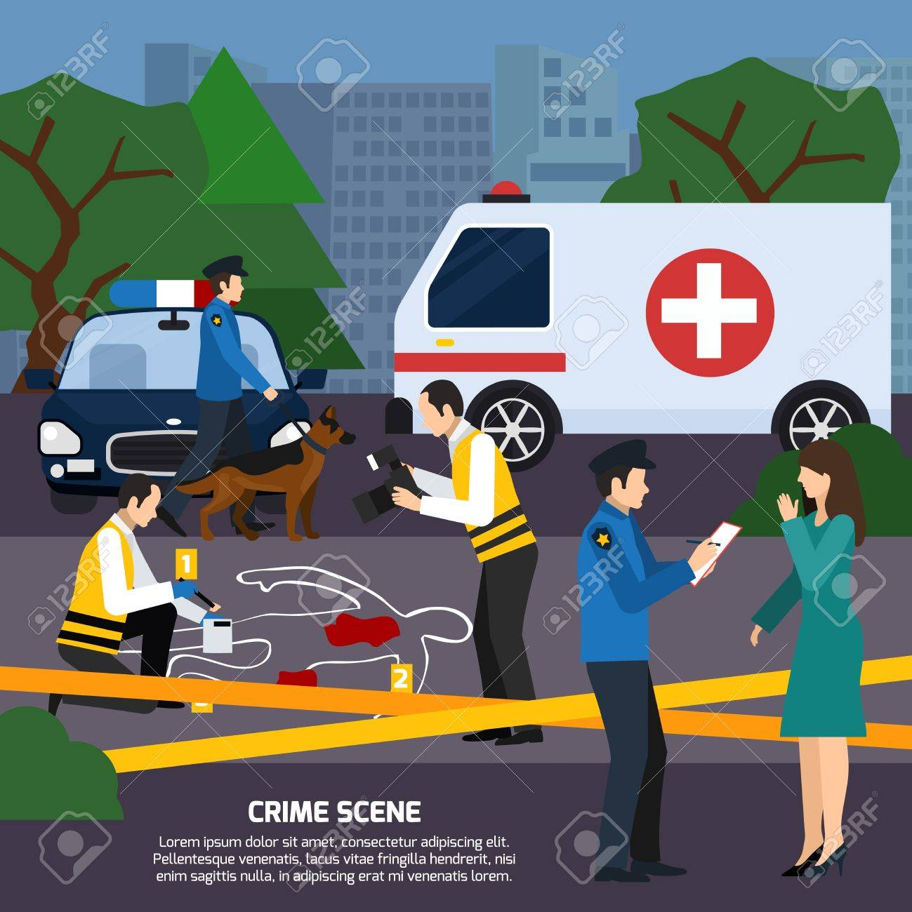 Escena Del Crimen Con La Sangre Del Contorno Del Cuerpo Rastrea ...