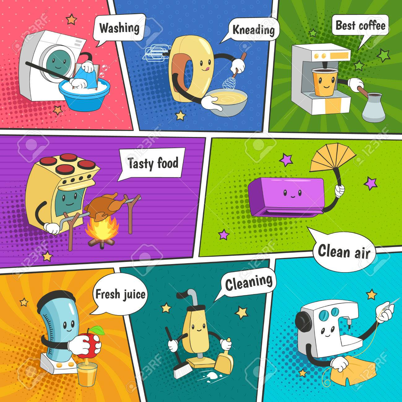 Household Appliances Bright Colorful Comic Page With Funny Icons ...