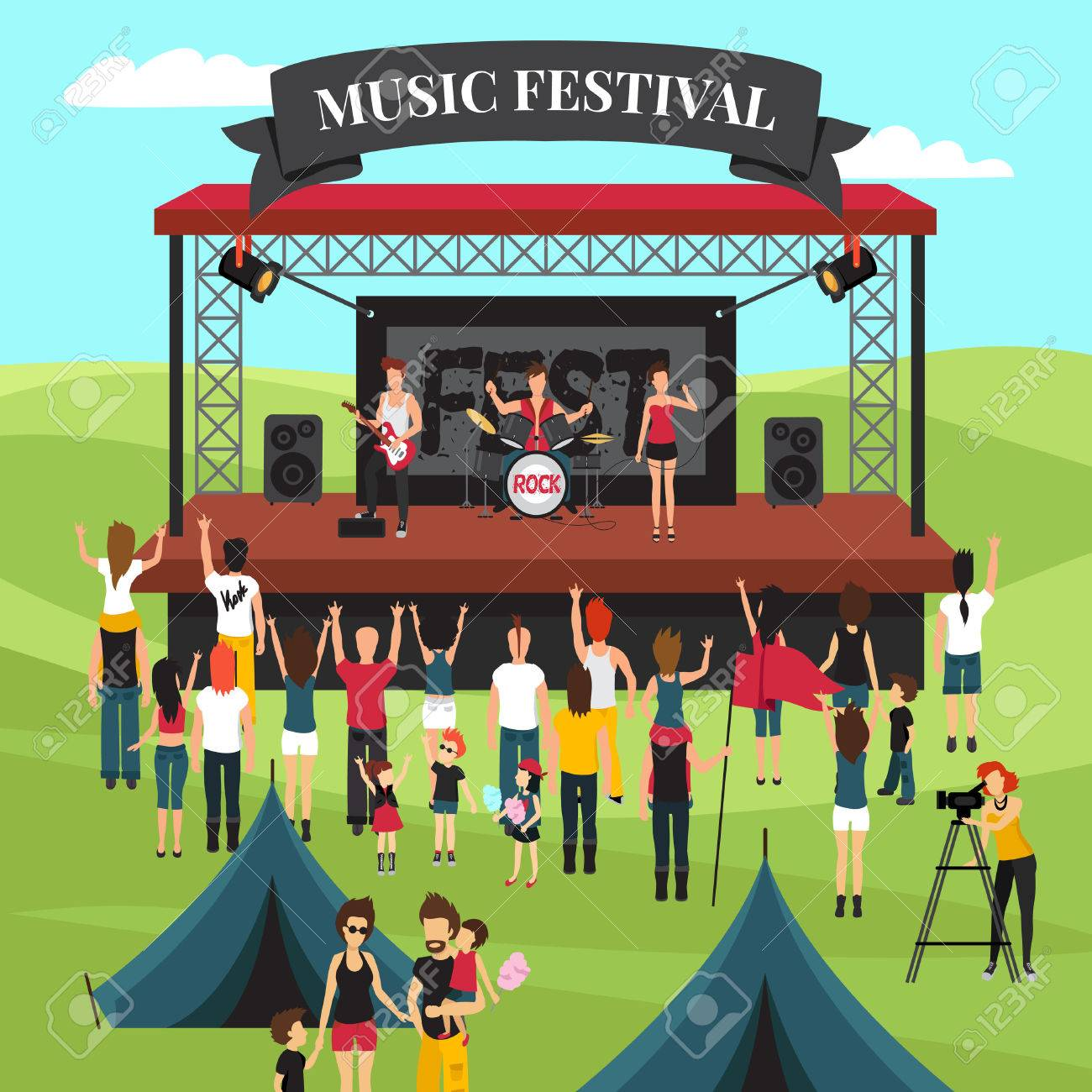 Open air festival background with summer suburban landscape rock band on stage crowd and camping park vector illustration - 74888104