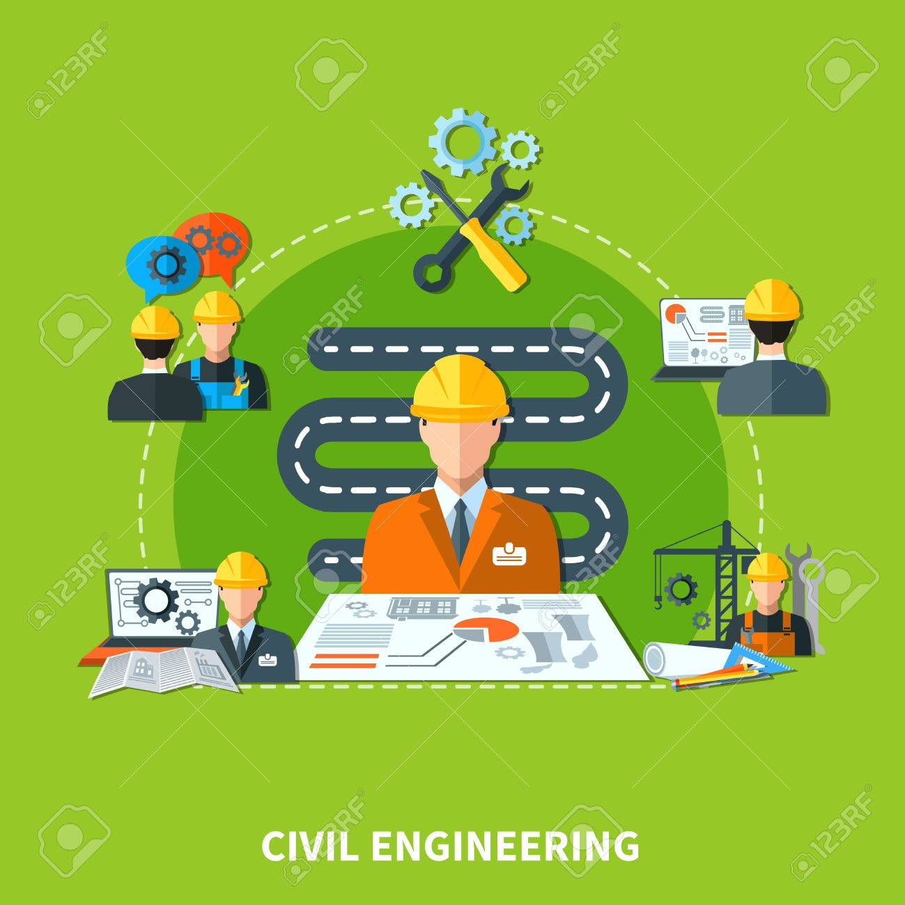 Civil Engineering Composition Of Flat Design Engineer And Construction Stock Photo Picture And Royalty Free Image Image 74772959