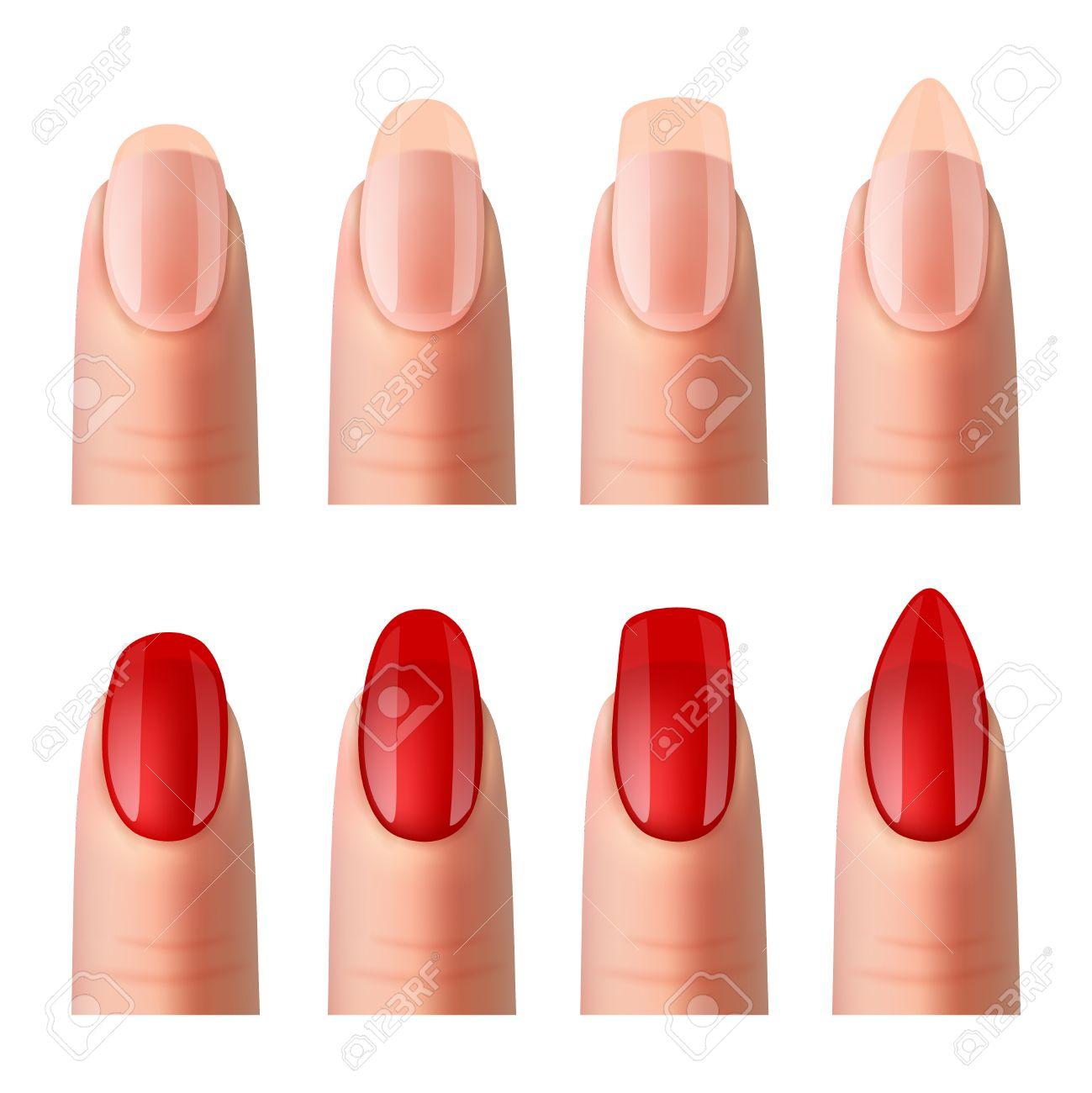 frauen nägel formen beste reine foundation und rote lack maniküre 2