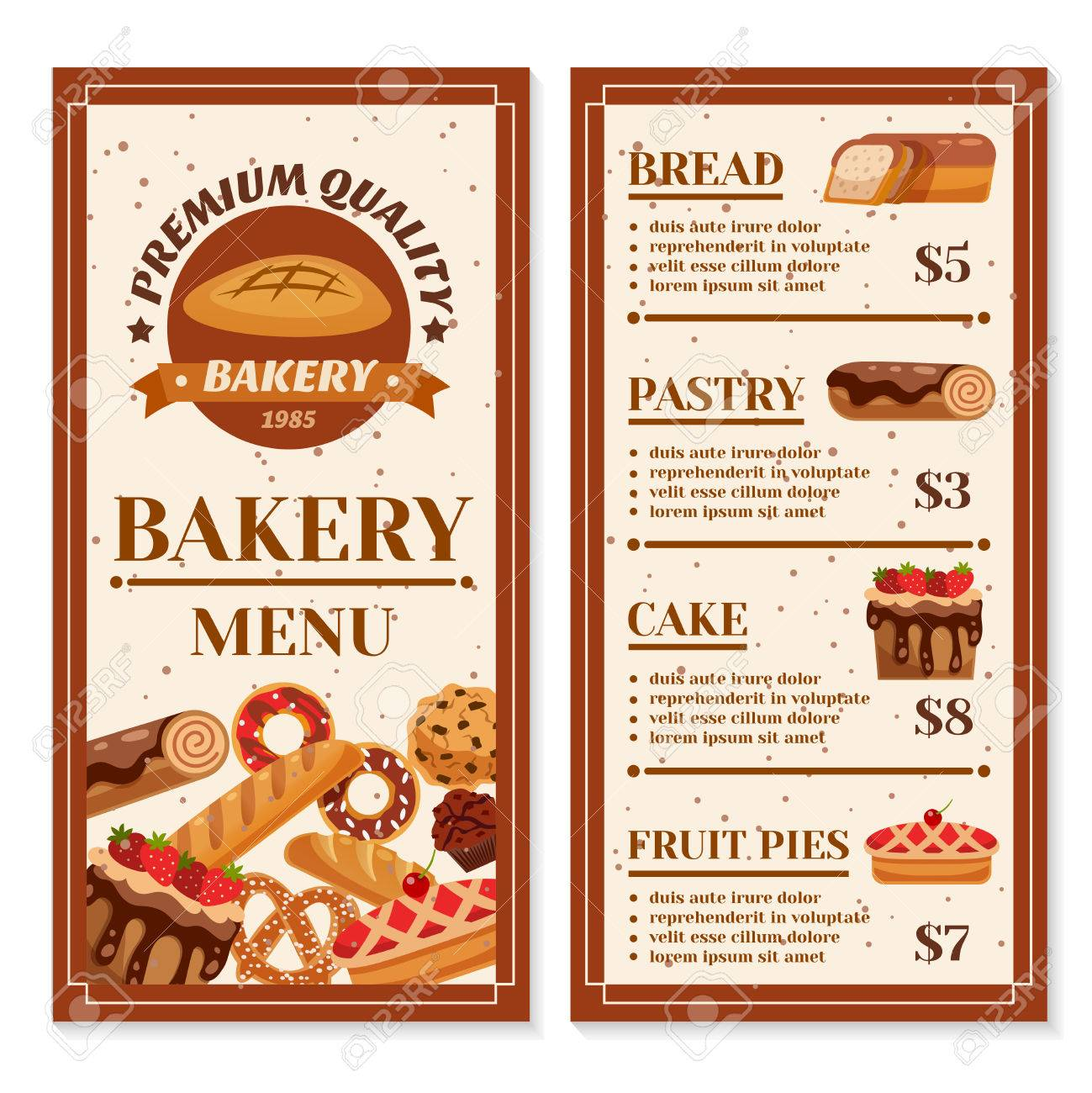 Bakery menu design with year of foundation at cover and product bakery menu design with year of foundation at cover and product price list isolated vector illustration altavistaventures Image collections