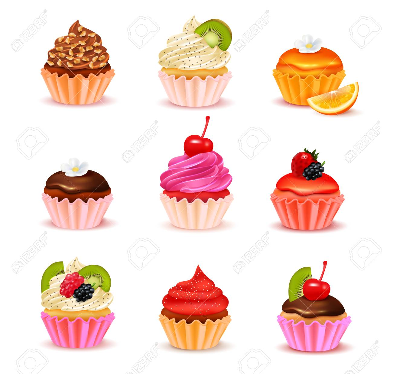 Bright realistic cupcakes with various fillings assortment set isolated on white background vector illustration - 79065347