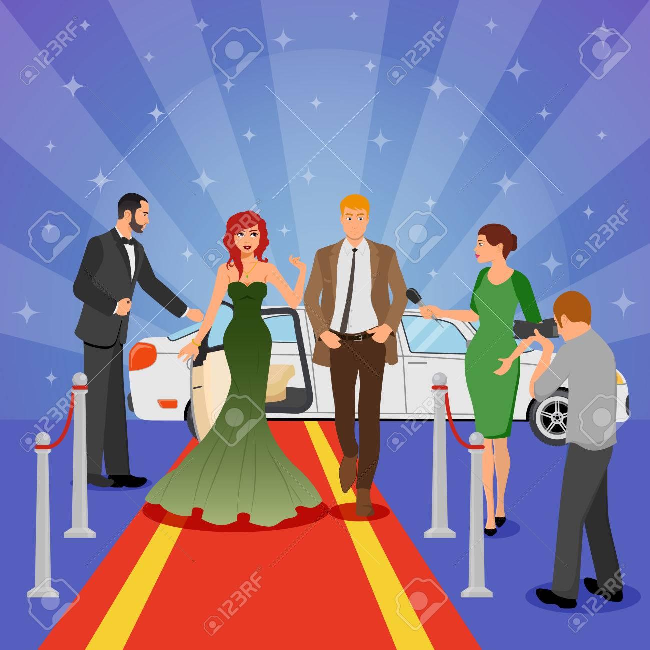 cc2df8273a98 ... con la giovane donna in vestito da sera sulle limousine bianche del  tappeto rosso e sull illustrazione piana di vettore dei giornalisti  d intervista