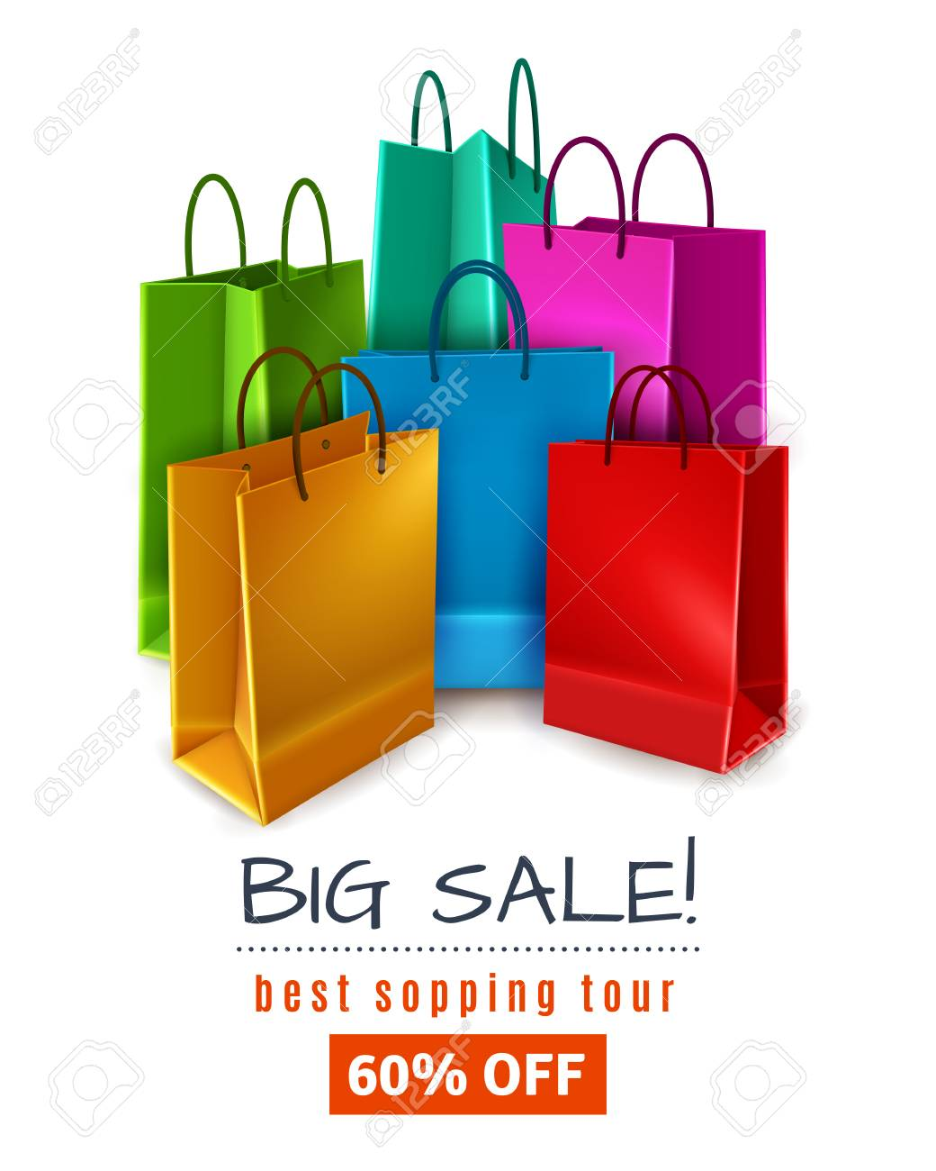 ace51f2f451a Big sale poster with colored paper shopping bags with handles on white  background 3d vector illustration