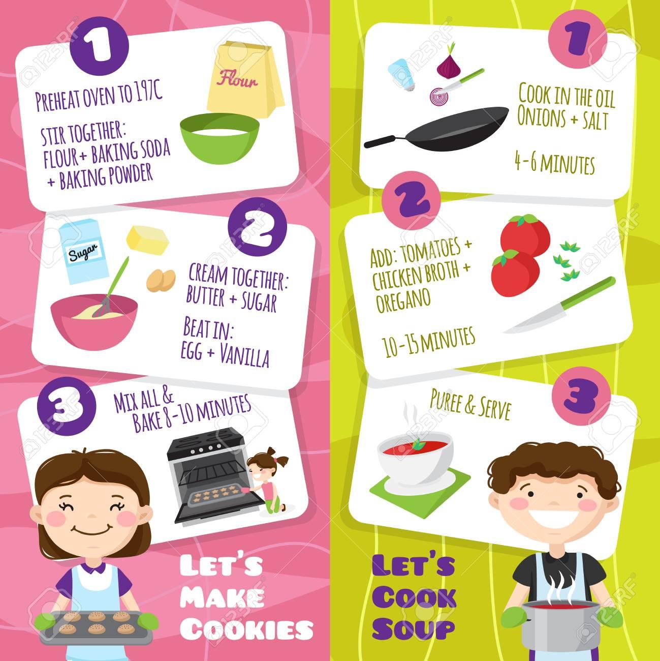 Niños Cocinando Pancartas Verticales Con Personajes De Dibujos