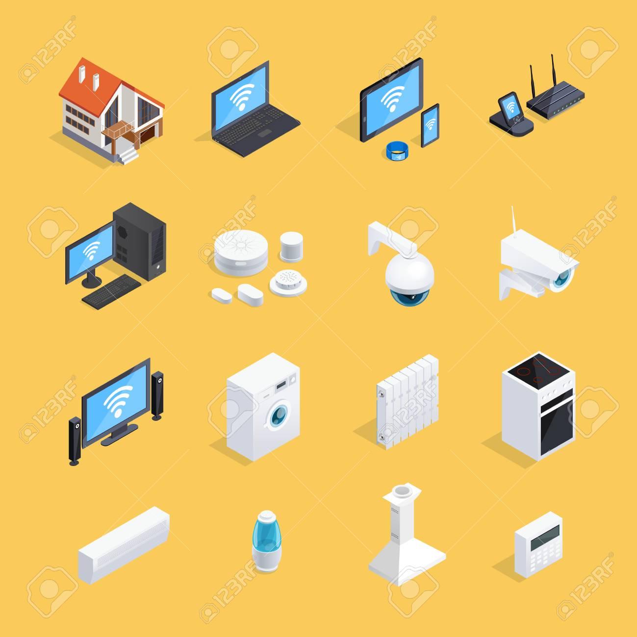 Internet De Casa Inteligente De Cosas Iconos Isométricos De Iot Con ...