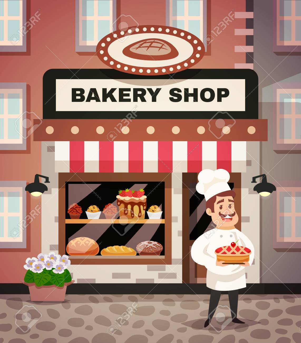 bakery shop design concept with chef in uniform standing in front rh 123rf com