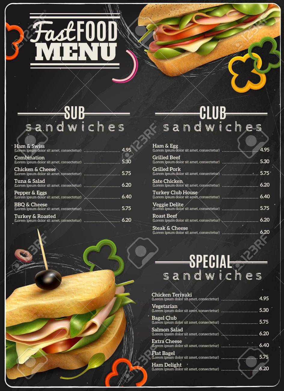 Fast Food Cafe Healthy Options Wholegrain Wheat Multigrain Sandwiches Blackboard Menu Realistic Advertisement Poster Print Vector