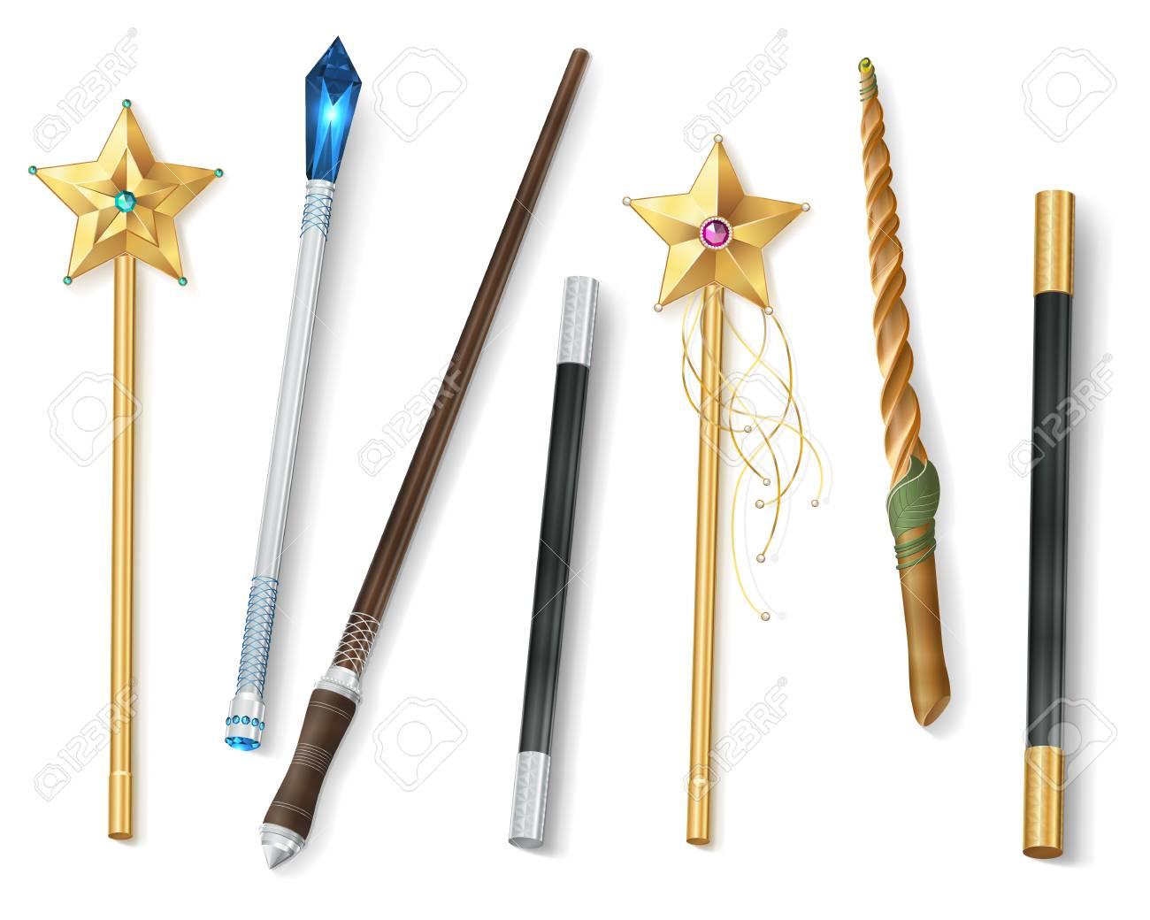 Collection De Baguettes Magiques De Différentes Formes Avec Des