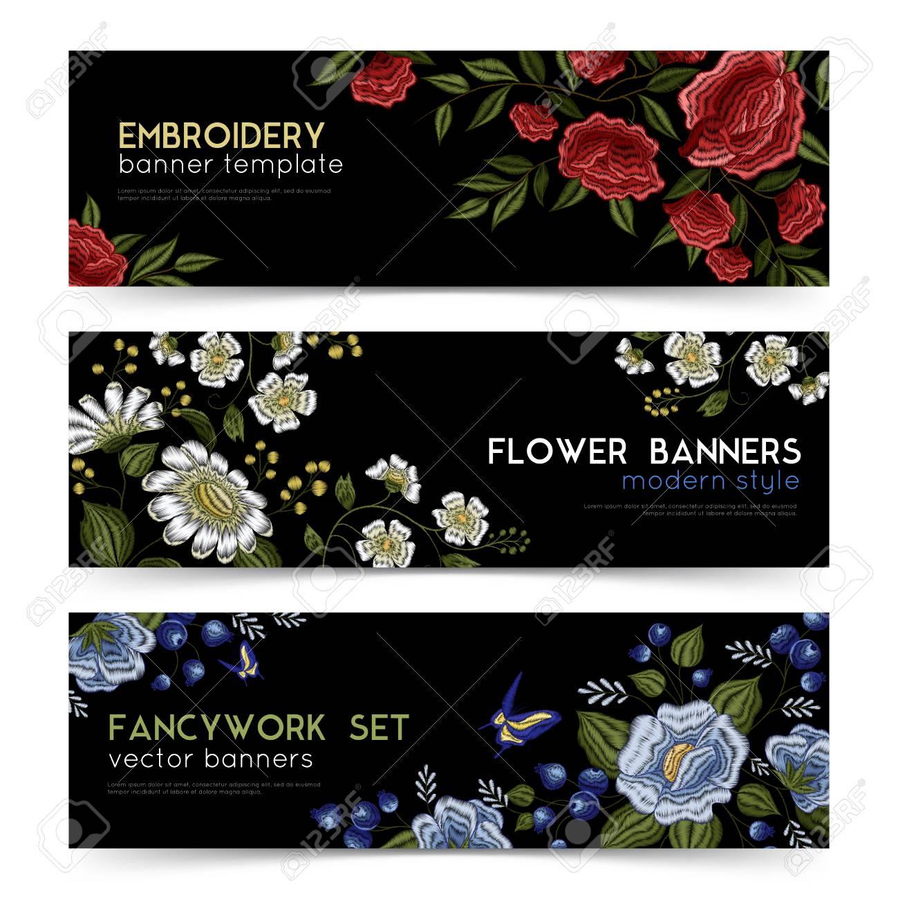 Diseño De Bordado Popular Floral Estilo Tradicional Patrones 3 ...