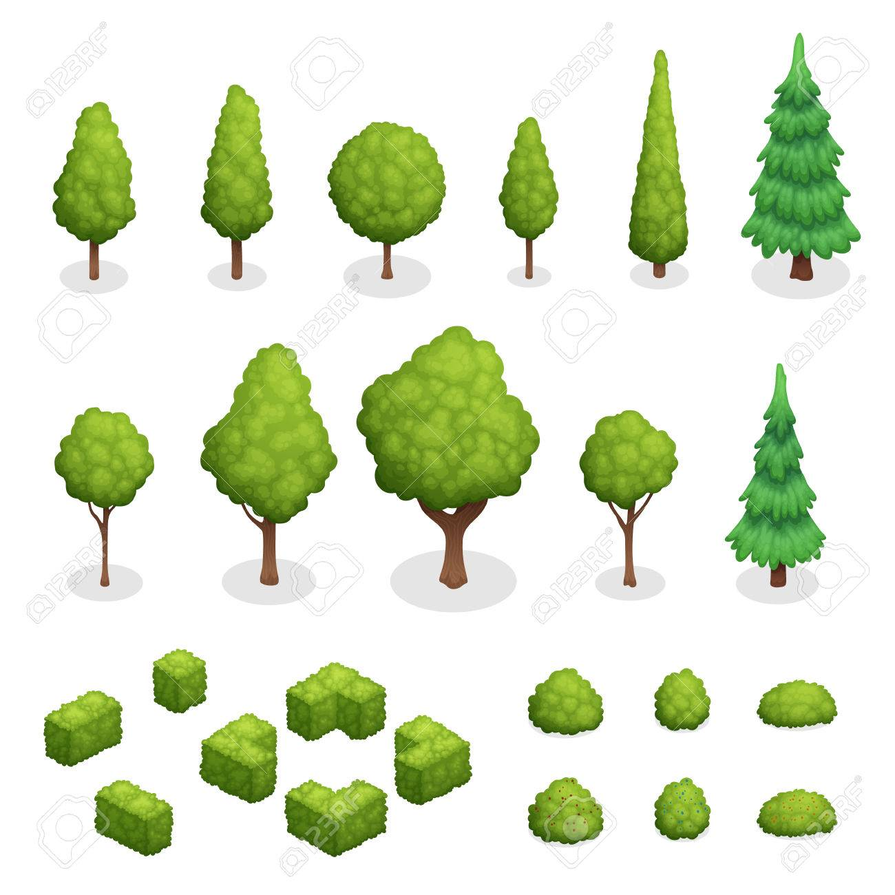 Isometric set of park plants with green trees and bushes of various shapes isolated vector illustration - 79591622