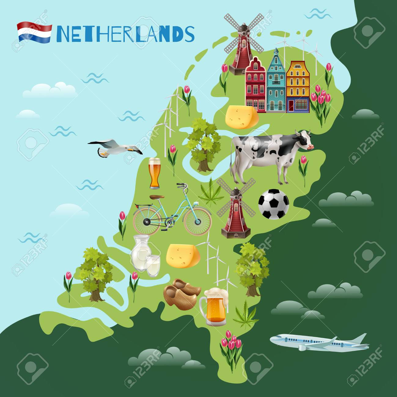 Holland travel sightseeing map with culture traditions national holland travel sightseeing map with culture traditions national cheese beer clogs tulips and windmills symbols gumiabroncs