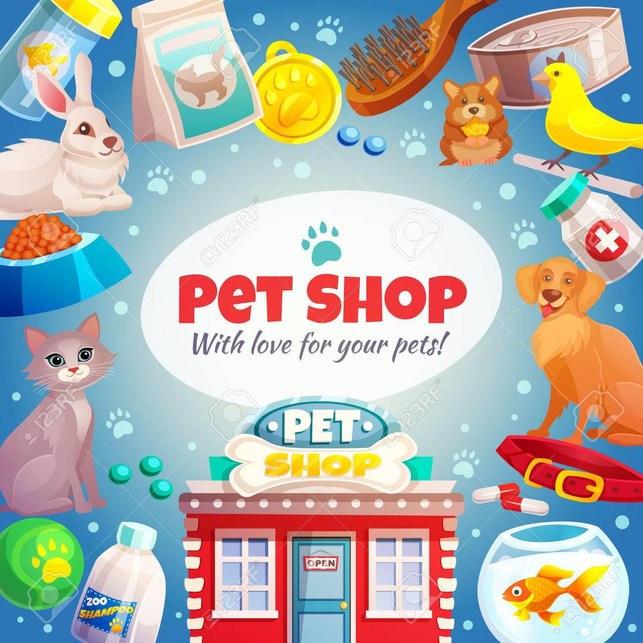 Pet Shop Rahmen Mit Logo, Tiere, Lebensmittel Und Waren Pflege ...