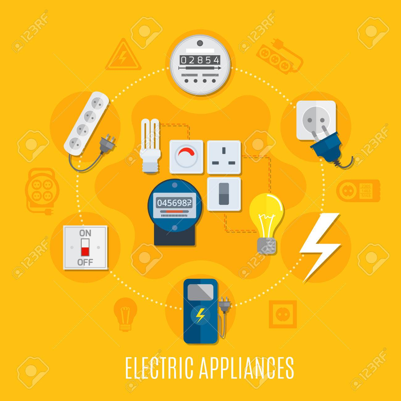 Electric Appliances Round Design With Gauges, Bulbs, Switch ...