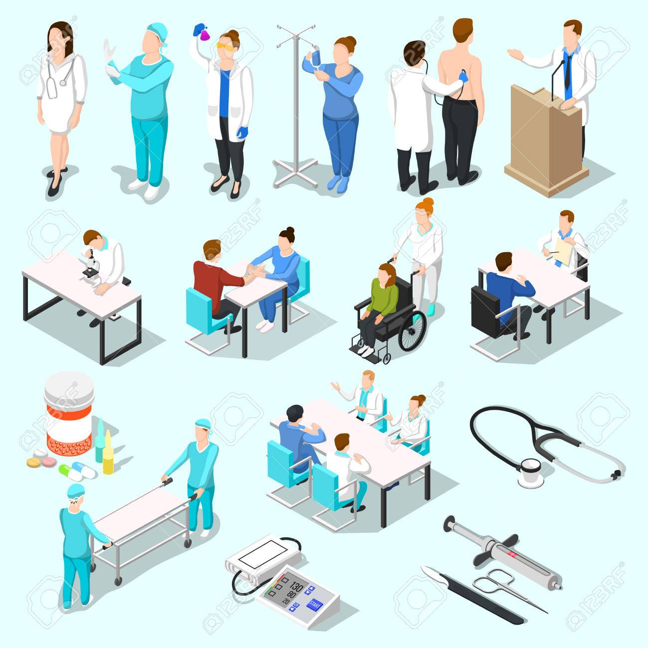 Isometric people doctor set of isolated medical equipment pills and human characters of doctor and patients vector illustration - 81005795