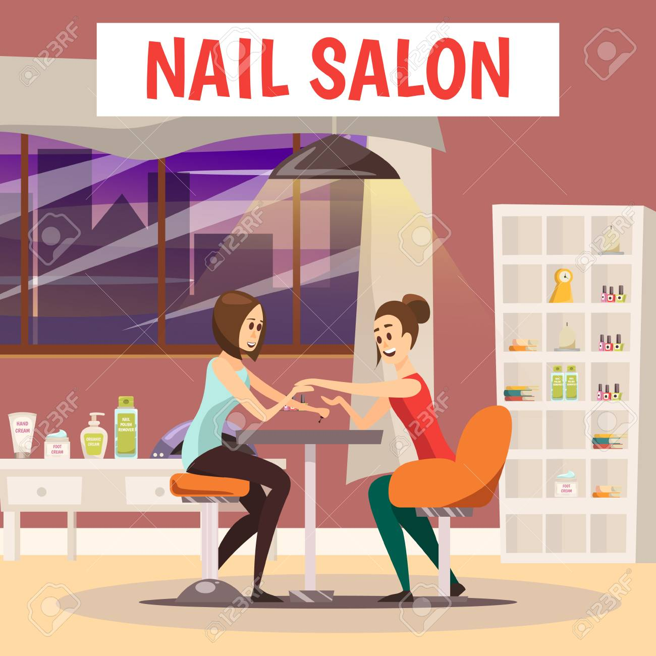 Nail Salon Background With Manicure And Pedicure Symbols Cartoon ...