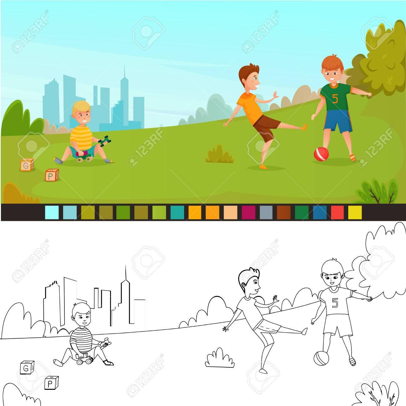 Dibujo Para Colorear Composicion De Ninos Con Dos Fotos No Pintadas