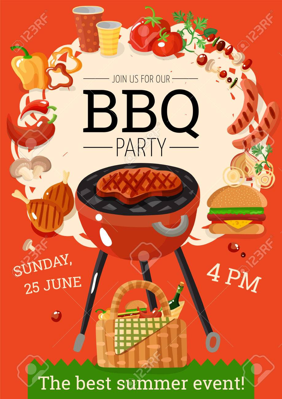 summer bbq party announcement poster with grill basket barbecue