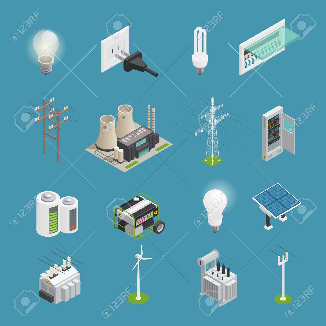 Power icons isometric set with electrical connector socket plug bulb and windmill energy generator isolated vector illustration - 81315677