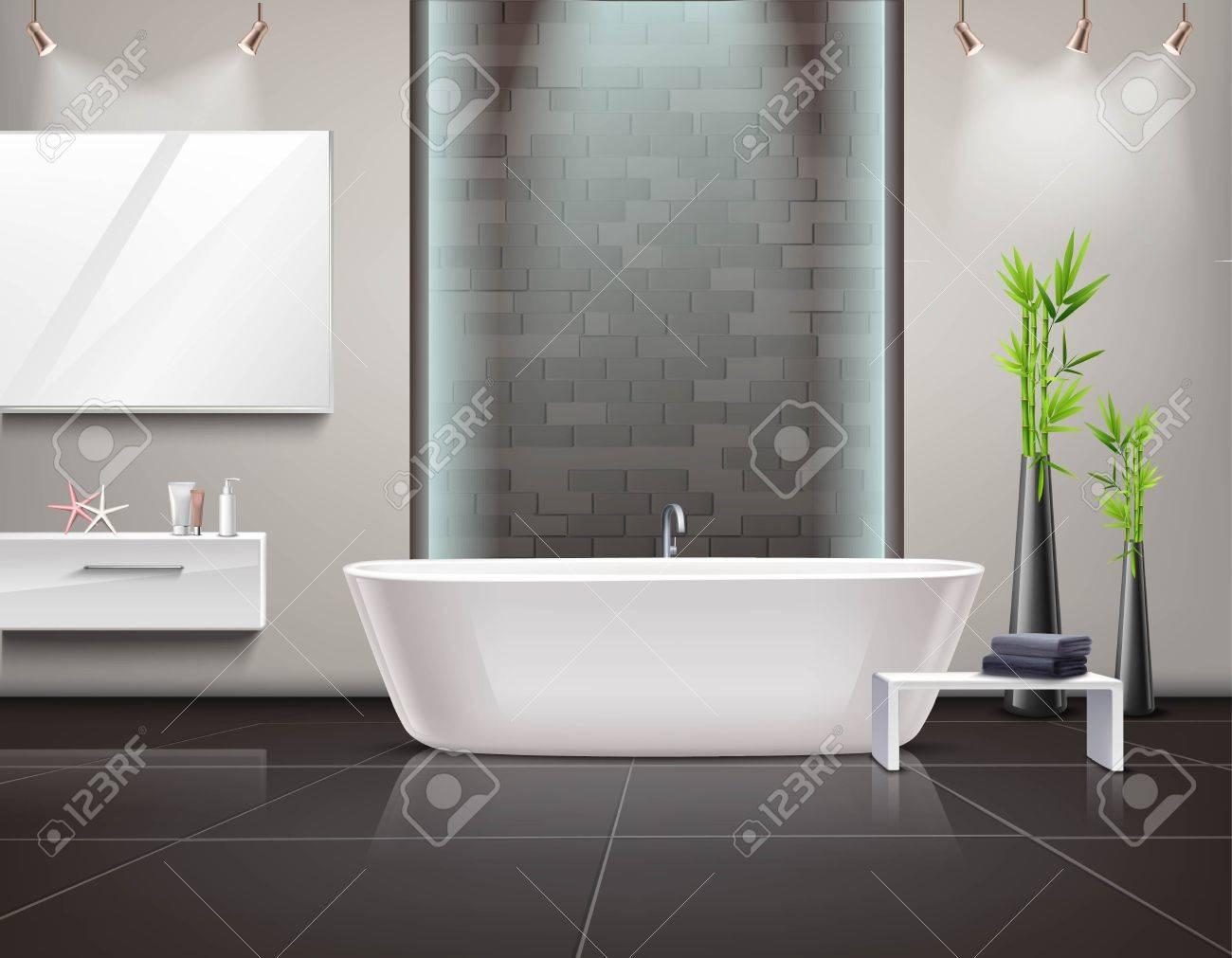 Interior Realista Del Cuarto De Baño Con El Espejo Y La Iluminación ...