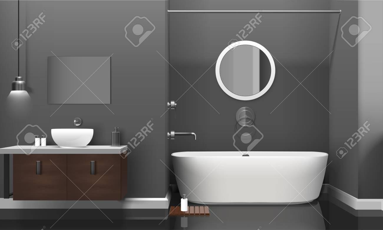 Design D Interieur De Salle De Bains Moderne Realiste Avec Des Equipements Sanitaires Blancs Etageres Sur Mur Gris Et Illustration Vectorielle Miroir