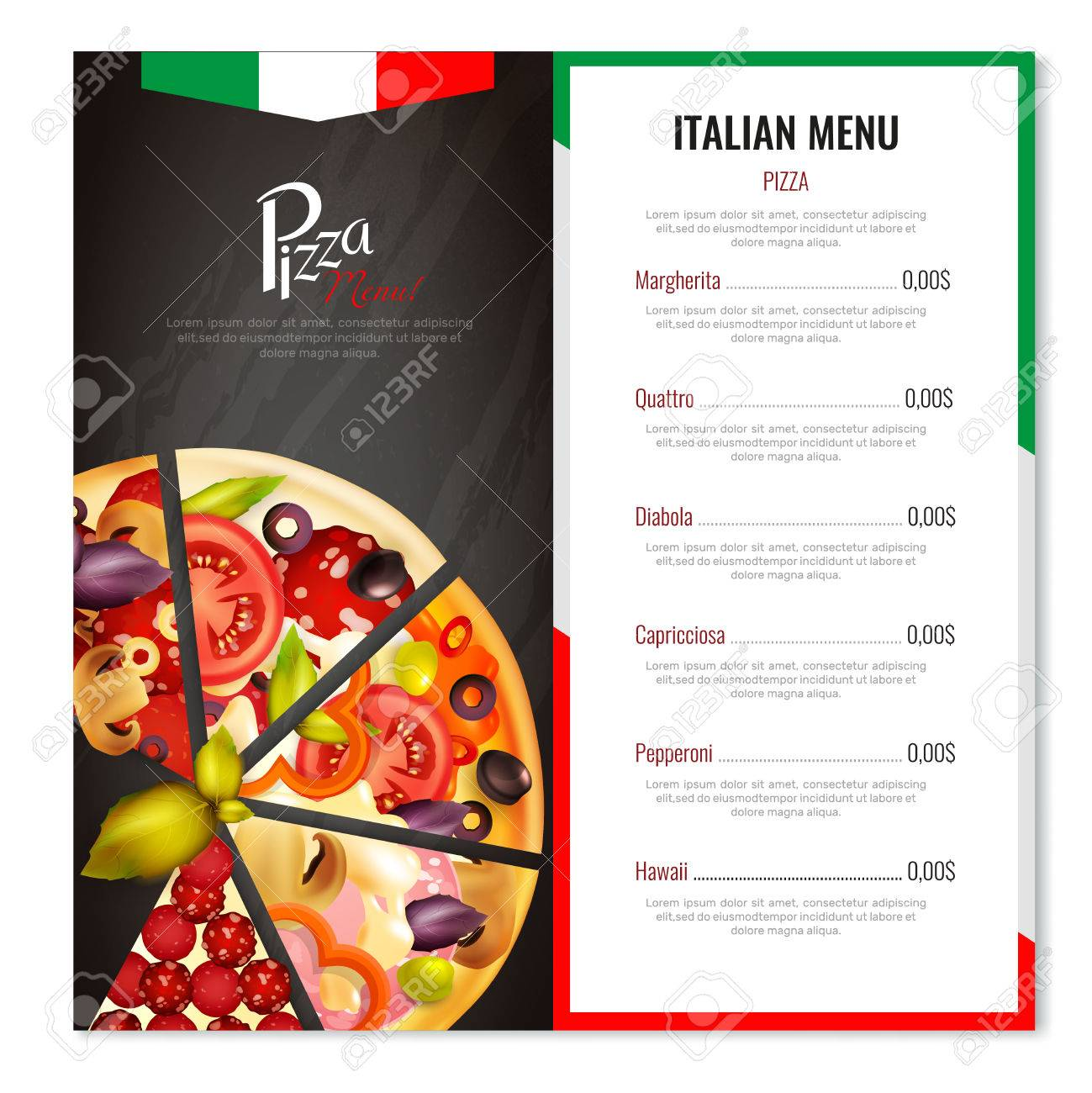 pizza menu design with realistic images of pizza slices with