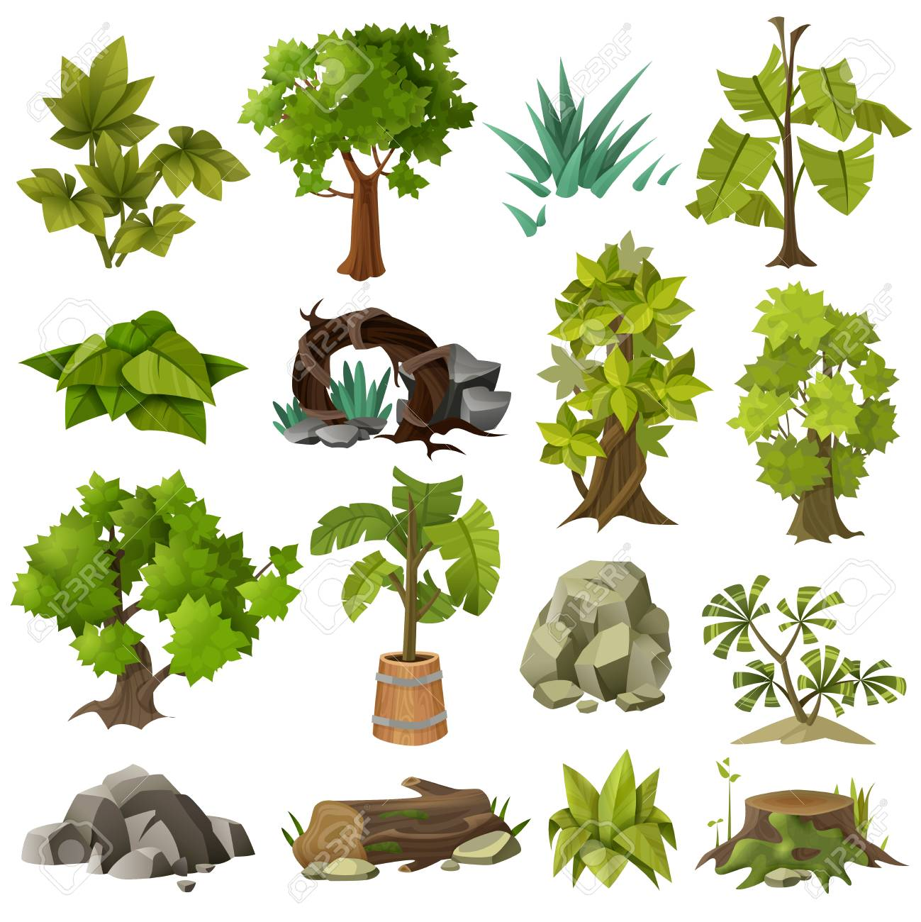 Arbres forestiers de plantes tropicales exotiques vertes et jardin paysager  moderne design éléments icônes collection illustration vectorielle isolé.