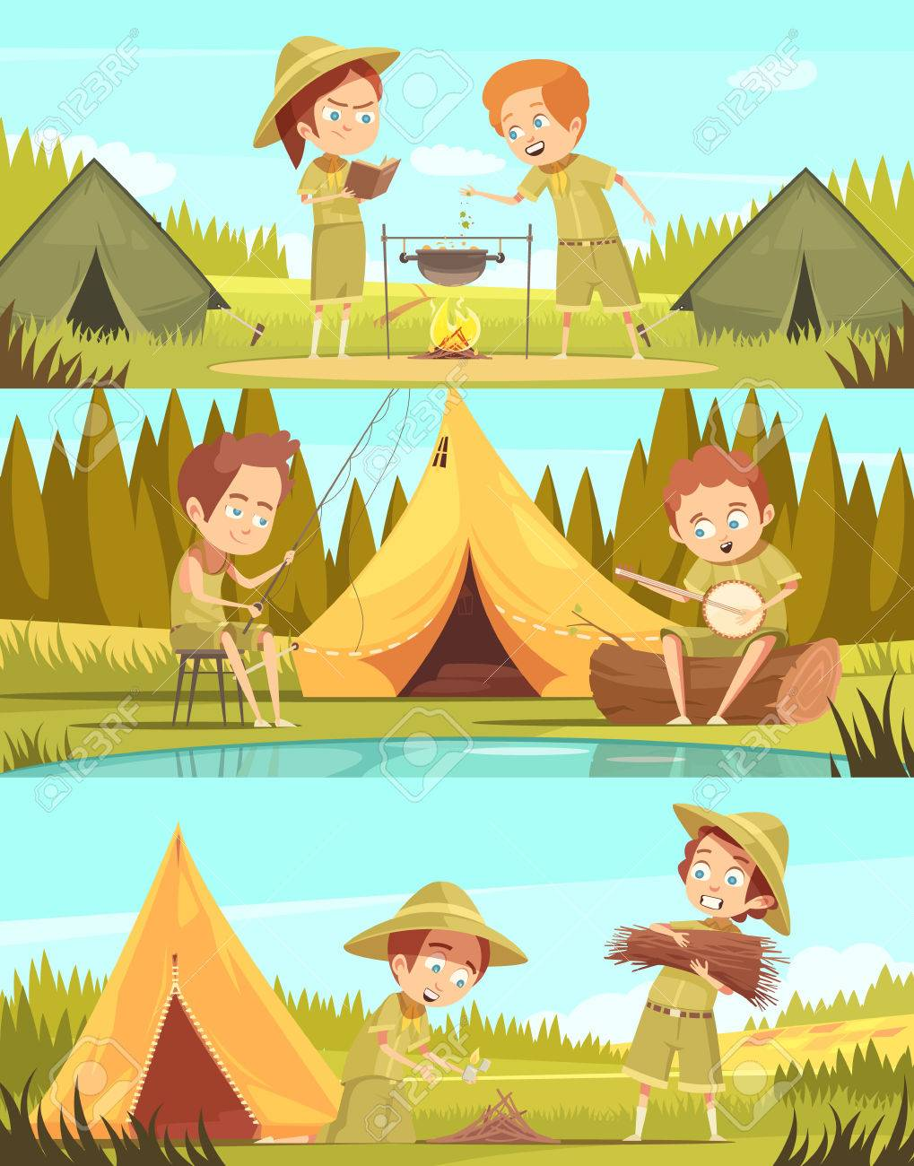 Scouting Boys Summer Camp Activities 3 Retro Cartoon Horizontal Banners Set With Campfire Cooking Isolated Vector