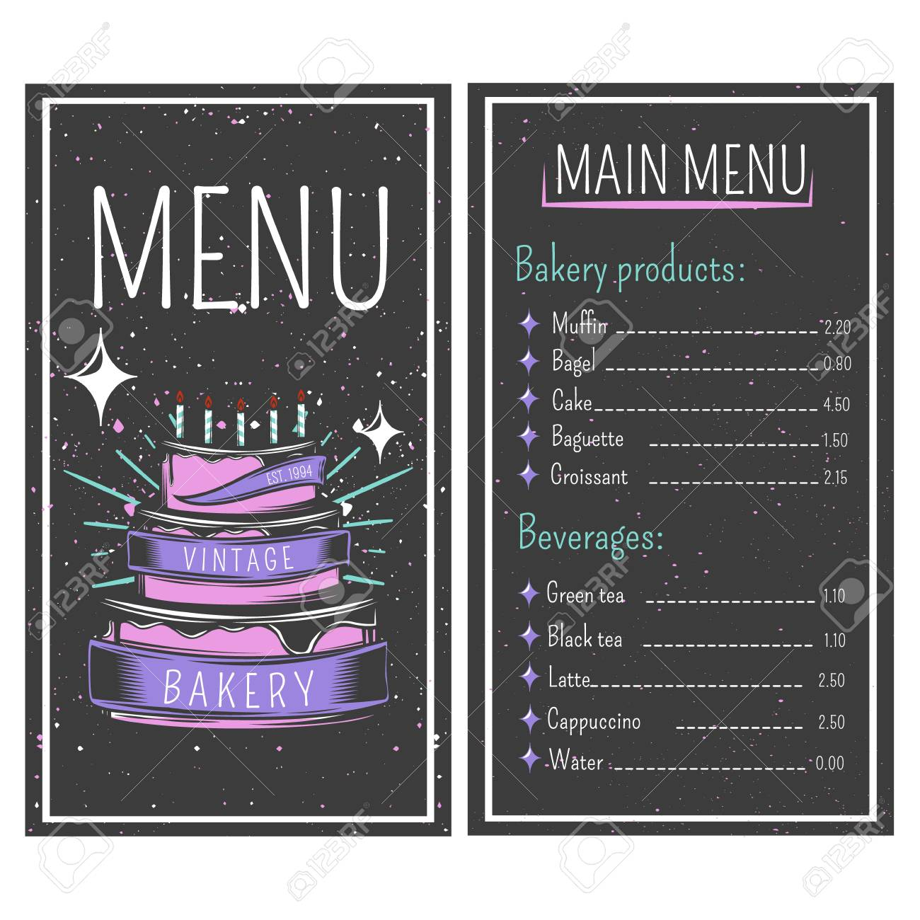 Bakery menu with flour products and beverages on black background bakery menu with flour products and beverages on black background with stains vintage style vector illustration thecheapjerseys Images