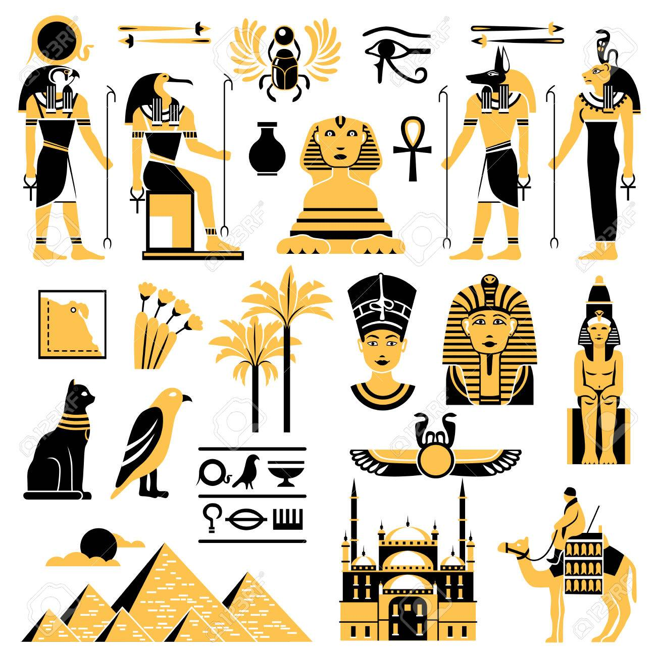 Egypt symbols set in golden and black colors with ancient egyptian egypt symbols set in golden and black colors with ancient egyptian deities pyramid and minaret flat biocorpaavc