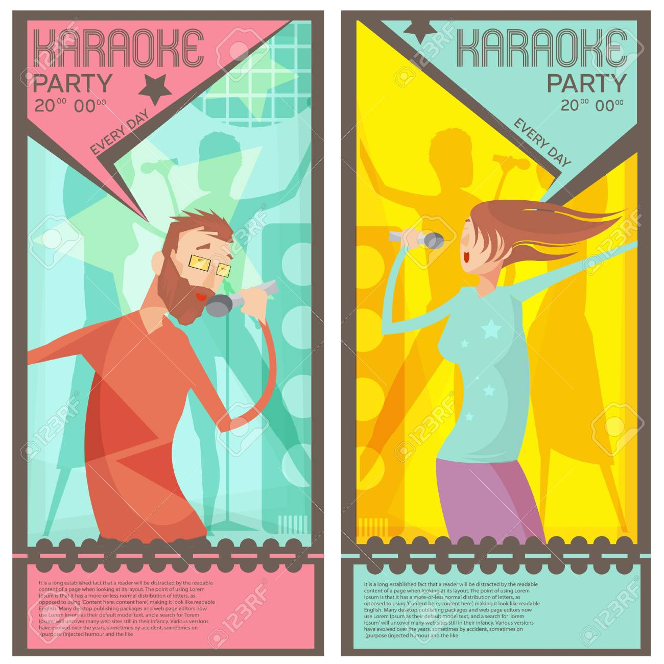 Karaoke Party Ticket Templates With Singing Man And Woman Flat ...
