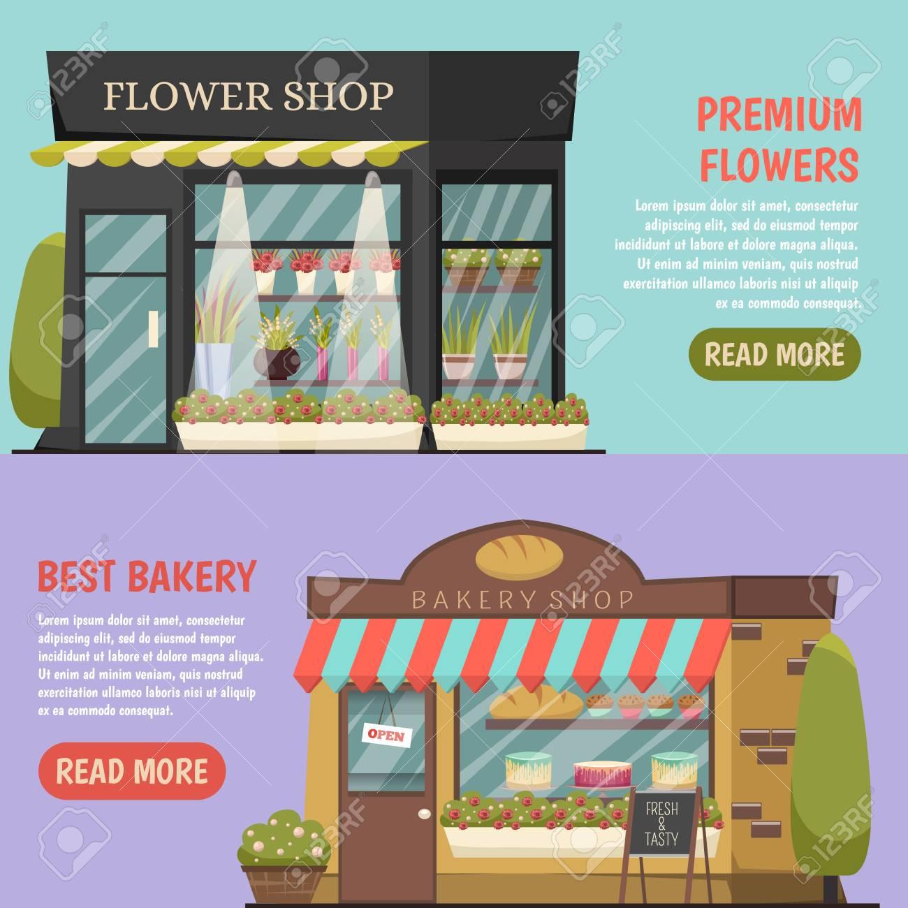 Shops horizontal banners set with flower shop symbols orthogonal isolated vector illustration - 83426549