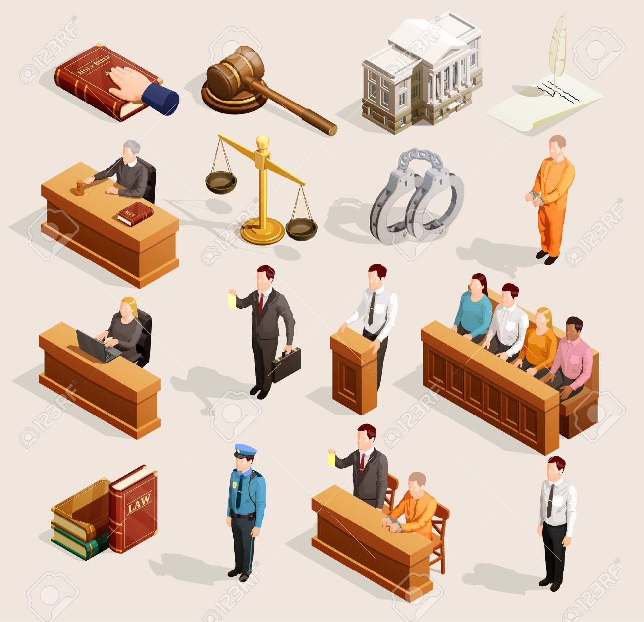 Law icon isometric set of isolated public justice symbols balance gavel wristbands judge and jury characters vector illustration. - 83336647