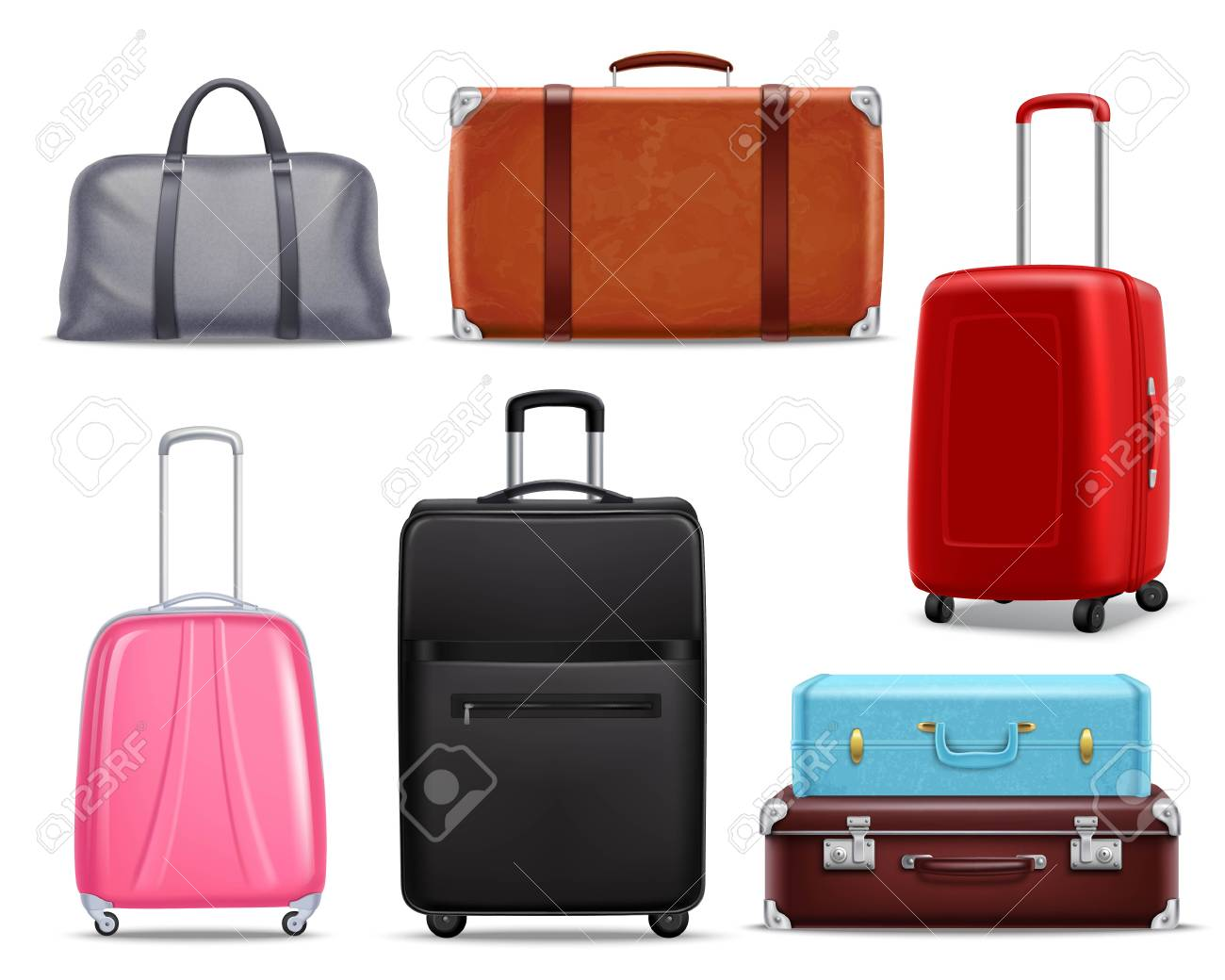 Business and family vacation travel luggage with handbag baggage modern and retro items collection realistic vector illustration. - 83336656