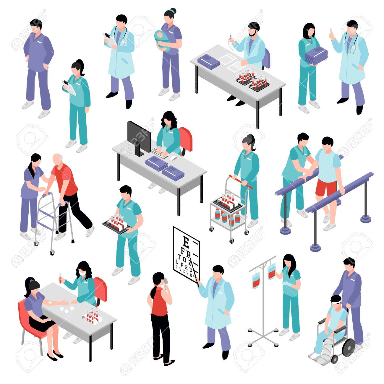 Docters physicians nurses physiotherapist and laboratory assistent attending patients in hospital isometric icons collection isolated vector illustration - 83426565