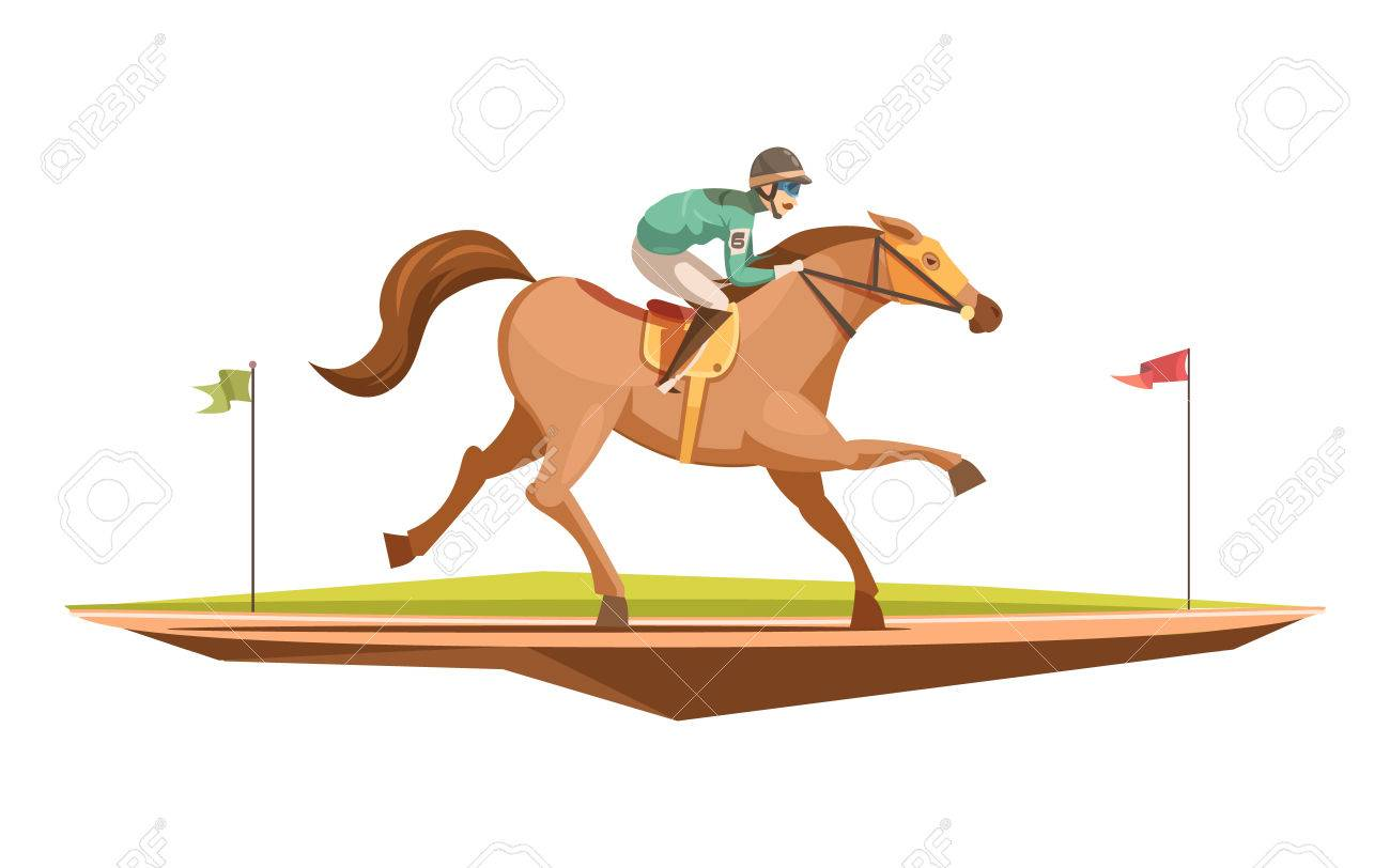 Horse Riding Retro Design Concept In Cartoon Style With Jockey On Galloping Flat Vector Illustration