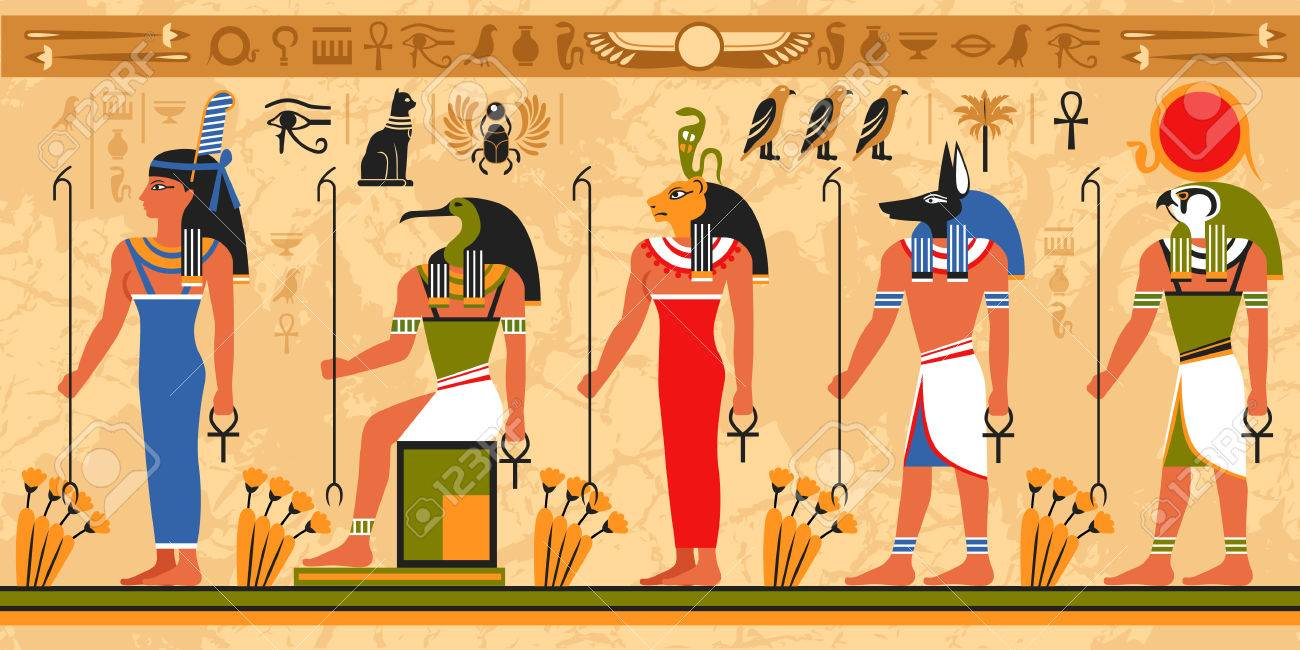 Colored border pattern on egypt theme with ancient egyptian colored border pattern on egypt theme with ancient egyptian deities and occult symbols flat vector illustration biocorpaavc