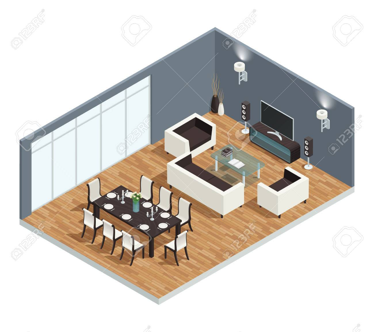 Dining Room Isometric Conept With TV Table And Chairs Vector Illustration Stock