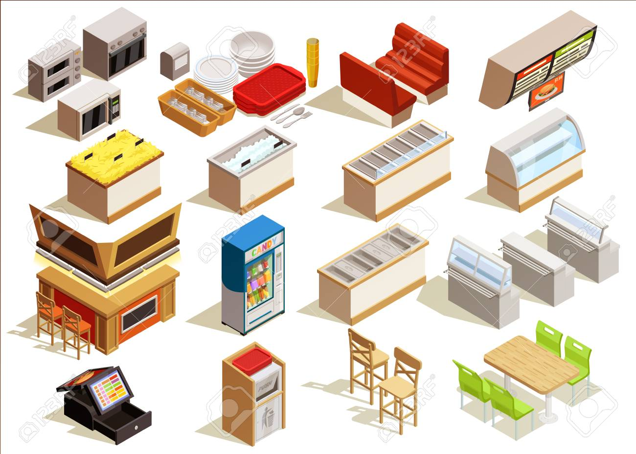 Isometric Food Court Interior Elements Set With Furniture Kitchen ...