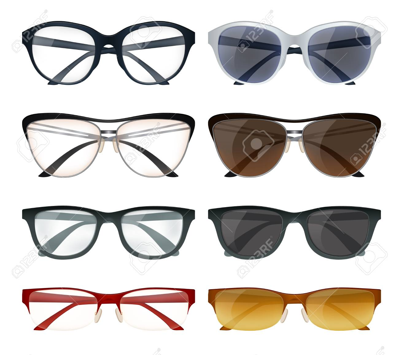 Realistic Set Of Modern Glasses And Sunglasses With Colorful ...