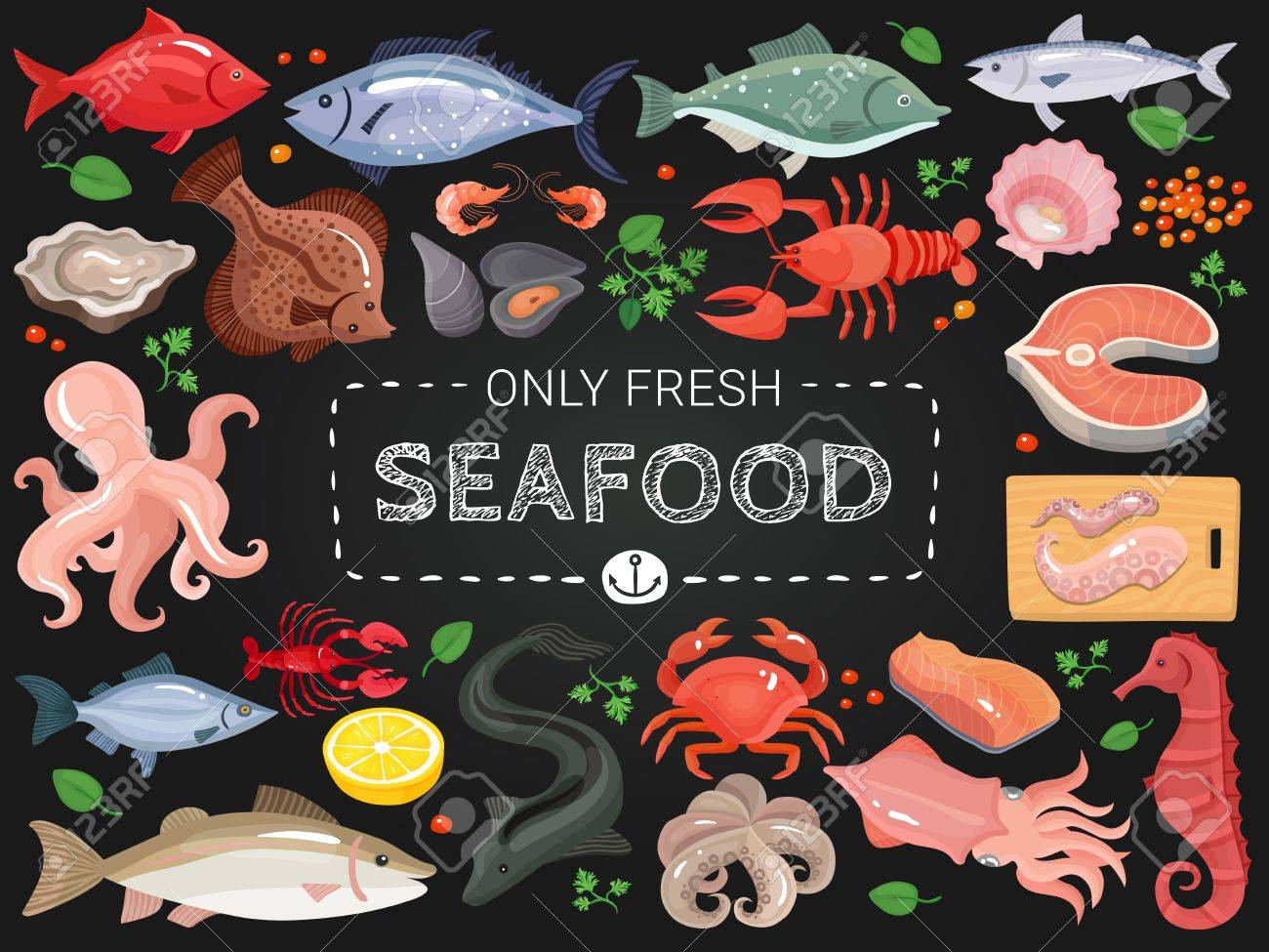 seafood restaurant menu items colorful icons on black chalkboard