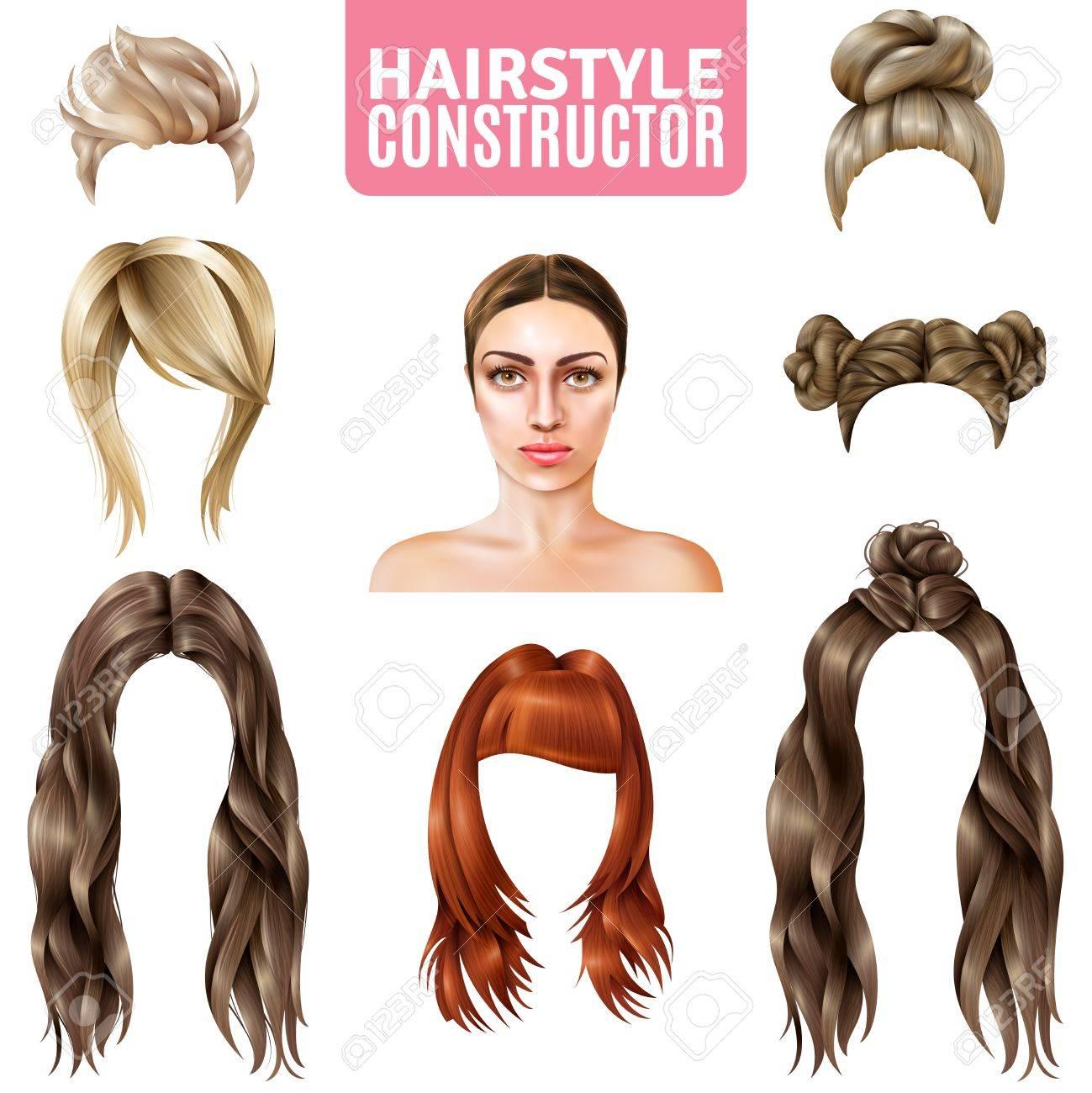 Frisuren Für Frauen Konstruktor Einschließlich Modell Lange Und